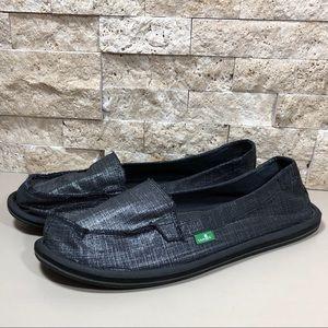 Sanuk Shoes Size 10 Black Silver Slip On